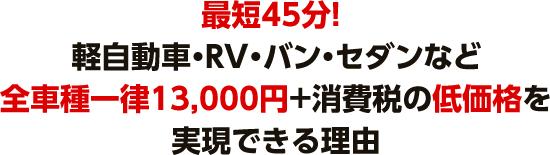 最短45分! 軽自動車・RV・バン・セダンなど全車種一律14300円+消費税の低価格を実現できる理由